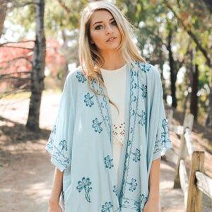 Bohemian Embroidered BLUE Lace Floral Kimono OS